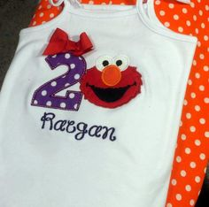 Puple polka dot and Red Elmo Girls 1st 2nd Birthday onesie Shirt tank or romper Personalized with Name and Age by EverleeBoutique on Etsy
