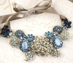 something blue. statement #necklace on satin ribbon. #wedding #bridal #accessories #jewelry