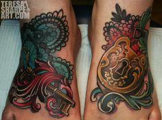 Feet tattoos by Teresa Sharpe #lock #key #feet #tattoos #tattoos