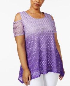 Ny Collection Plus Size Ombre Lace Cold-Shoulder Top - Purple 1X