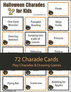 halloween charades for kids great mix of halloween costume activity and items all about halloween plus there is a group of silly ones too like ghost