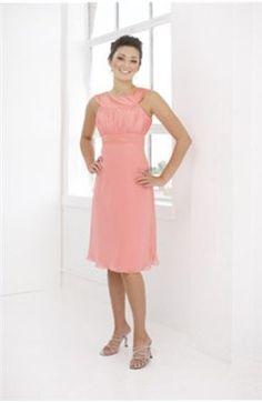 Sheath Jewel Knee-length Chiffon Bridesmaid #Dress $59