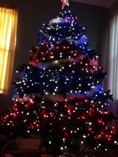 how many times have you seen or even hear of a red white and blue christmas tree like our patriotic family had