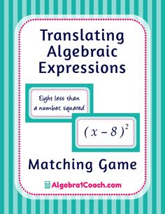Translating Algebraic Expressions Game Translating Algebraic Expressions Worksheets Variables and Expressions Game Variables and Expressions Worksheets Algebra Lessons, Algebra Activities, Free Math Worksheets, Math Lesson Plans, Teaching Math, Math Teacher, Math Games, Math Resources, Algebra Games
