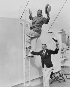 A rare candid shot of comic legends Stan Laurel and Oliver Hardy on board the S.S. Paris cruise ship, circa 1930s!