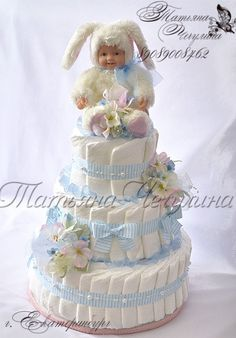 (11) Gallery.ru / Фото #10 - Универсальные - tatyana-che Baby Shower Hamper, Baby Shower Diapers, Diaper Cake Boy, Nappy Cakes, Baby Shower Crafts, Girl Baby Shower Decorations, Haunted House Cake, Pamper Cake, Baby Boys