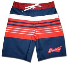27eb86484a Budweiser Board Shorts Boardshorts, Stripes Design, Swim Trunks, Swimming,  Swimwear, Printed