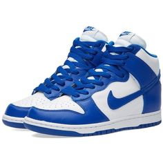 Nike Dunk Retro QS (£49) ❤ liked on Polyvore featuring men's fashion, men's shoes, mens white leather shoes, mens retro shoes, mens white shoes, mens leather shoes and nike mens shoes