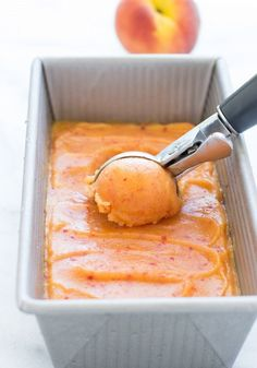 No Churn Fresh Peach Sorbet by makingthymeforhealth: Made with just 4 simple ingredients! Dairy-free, refined sugar-free and only 100 calories per serving! #Peach_Sorbet #Healthy