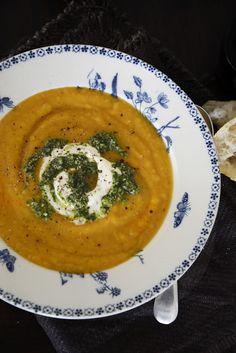 Pumpkin and Kumara (Sweet Potato) Soup with Coriander Pesto From The Kitchen