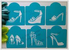 Fashion High Heel cookie stencils  , cupcake , cake stencils set of 6