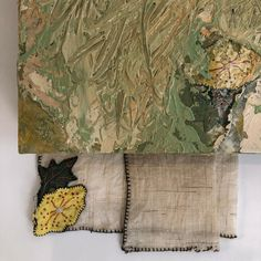 Detail of new work: Dining Suite Desk Set. Oil, acrylic, textile (reclaimed vintage embroidered linen napkins) on wood, thumb tacks. - #painting #linen #oldthings #vintage #furniture #memory #rooms #usingspaces #newdesk #workfromhome #smellofoilpaint❤️ Dining Suites, Desk Set, Linen Napkins, Vintage Furniture, New Work, Old Things, Outdoor Blanket, Textiles, Rooms