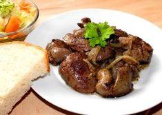 Hagymás sült csirkemáj Hungarian Cuisine, Hungarian Recipes, Hungarian Food, Liver Recipes, Vegan Recipes, Main Dishes, Bacon, Food And Drink, Turkey