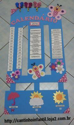 Calendário borboleta - Cantinho Infantil - ARTES EM E.V.A