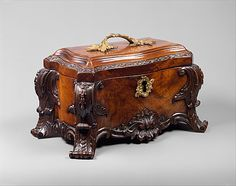 """1760 British Tea chest at the Metropolitan Museum of Art, New York - From the curators' comments: """"The English satirist Jonathan Swift (1667–1745) wrote in his Directions to Servants (1729) about """"small chests and trunks with lock and key, wherein they keep the tea and sugar."""""""""""