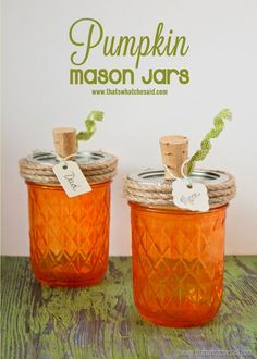 Pumpkkin Mason Jars! Perfect for name cards or host/hostess gifts!