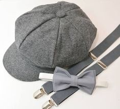Bow Tie Suspenders Newsboy Cap Hat / Medium Gray Bow Tie / Charcoal Gray Suspenders / Kids Baby Page Boy Outfit Set / Newborn - 10 Years Suspenders For Kids, Bowtie And Suspenders, Grey Bow Tie, Page Boy, Newsboy Cap, Tie Colors, Baby Size, Baby Month By Month, Caps Hats