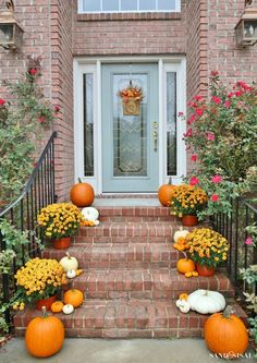 Orange and White Pumpkin Fall Front Porch . Front Porch Decorating Ideas