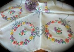 Hand Embroidered Pretty Floral Vintage Linen Tablecloth by GardenOfCrinoline on Etsy