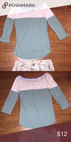 3/4 sleeve tee Top part is semi sheer in great condition only wore once, teal color American Eagle Outfitters Tops Tees - Long Sleeve
