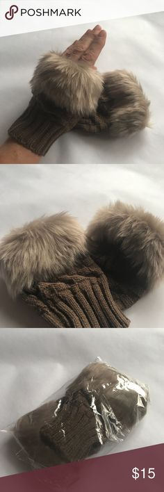 Faux fur, fingerless hand warmers Light brown, Faux Fur, fingerless hand warmers. Very cute and stylish. These best fit a small or medium hand. Accessories Gloves & Mittens