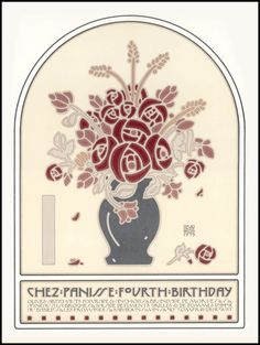 Chez Panisse (Berkeley) poster designed and printed by David Lance Goines