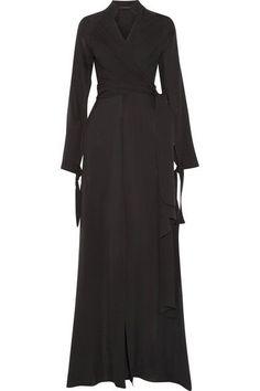 Juan Carlos Obando - Wrap-effect Silk-chiffon Gown - Black - US10