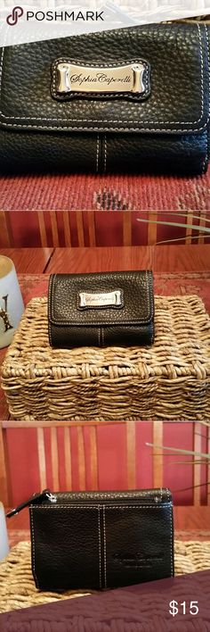 Sophie Caperelli Black Leather Wallet Excellent condition..like new..show no wear..cheetah print lining and black Pebble lesther..silver hardware..lots of compartments Sophie Caperelli  Bags Wallets