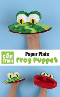 Cute and easy paper plate frog puppet craft for kids. Use paper plates and a few basic craft materials to create these fun DIY puppets! Paper plate Crafts for Kids #diytoy #kidscraft #puppets #paperplatecraft #spring #frogs #frogcrafts #kidscrafts #kidsactivities #thecrafttrain Hand Crafts For Kids, Cute Kids Crafts, Paper Plate Crafts For Kids, Toddler Crafts, Preschool Crafts, Craft Kids, Kid Crafts, Frogs For Kids, Frog Puppet