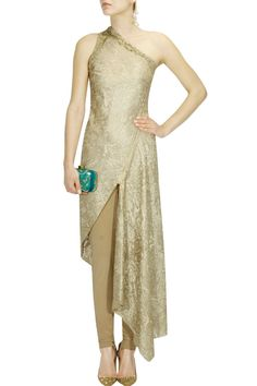 Gold floral bugal beaded asymmetric one shoulder kurta set - Gaurav Gupta
