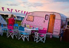 Glamping dolls uk - our glampsite , as the sun went down Pink Parties, Glamping, Caravan, Recreational Vehicles, Sun, Dolls, Party, Vintage, Baby Dolls