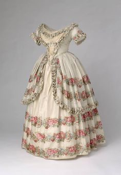 1851, England Silk and lace evening dress worn by Queen Victoria Royal Collection