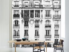 The Paris Windows Mural HD Mural by WYNIL. Made in Canada, worldwide shipping. Printed on highly resistant ecological paper, easy to apply. Paris Architecture, Architecture Details, Celsius To Farenheit, Converting Metric Units, Commercial Wallpaper, Leed Certification, Accent Wall Bedroom
