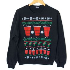 Have A Beery Christmas Beer Pong Ugly Sweater Style Tacky Sweatshirt