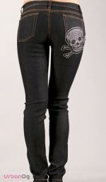 Stretchy Skull Denim Jeans - sooo making these with a black sequin skull