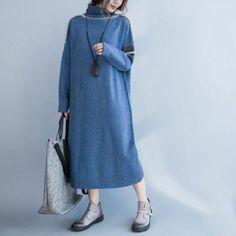Turtle Neck Loose Sweater Dress - Light Blue One Size Long Sweater Dress, Loose Sweater, Knit Fashion, Long Sweaters, Cotton Dresses, Plus Size Fashion, Turtle Neck, Casual, Deep Blue