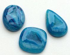 WHOLESALE 3 Pcs Blue Window Druzy Fresh Blue by gemsforjewels