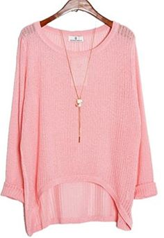 609dbd9fe2c313 Alinfu Women¡¯s Casual Thin See Through Unbalance Knit Pullover Batwing  Blouse Tops Pink