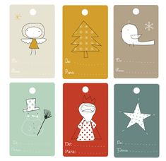 LOVE these free printable holiday gift tags that look like children's book illustrations.