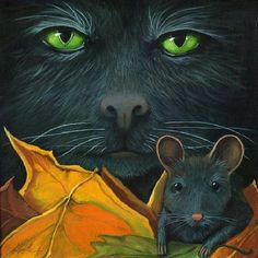 CHATS-LA-BLACK CAT AND MUSE  de Linda Apple