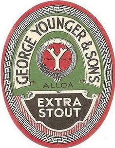 Younger extra stout Drink Labels, Beer Labels, Bottle Labels, Wine Label Design, Bottle Design, Glasgow Pubs, Sous Bock, British Beer, Beer Mats