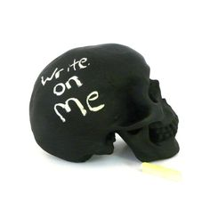 chalkboard skull, desk accessories, goth, upcycled home decor, artsy, skull decor, hipster, office decor on Etsy, $28.00