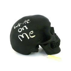 chalkboard skull, desk accessories, goth, upcycled home decor, artsy, skull decor, hipster, office decor on Etsy, $28.00