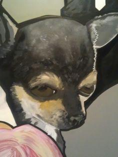Detail dog acryl on woord.