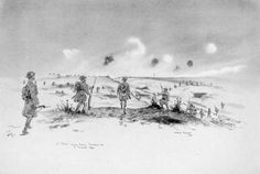 "4th Gordons clearing the crest of Greenland Hill and ""Windmill Copse."" Sketch by Fred A Farrell, September 1918, shows the final attack on these historic strongholds, where the 51st Division had already lost so many men. The capture of Greenland Hill was significant, as it might be described as the position on which the great final move forward to the Canal du Nord pivoted.  http://net.lib.byu.edu/estu/wwi/memoir/docs/51st/images/plate43.jpg"