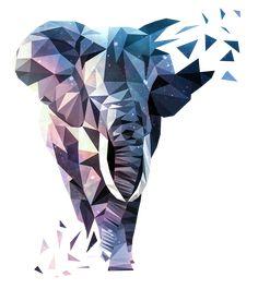 Elephant Polygon Art T-Shirt Design of an elephant in the low polygon style Geometric Elephant, Elephant Design, Geometric Art, Animal Sketches, Animal Drawings, Art Drawings, Triangle Art, Polygon Art, Design Art