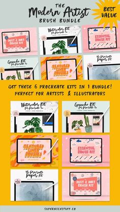 Modern Artist Procreate Bundle by SuperNiceStuff on @creativemarket Dirt Texture, Watercolor Kit, Artist Brush, Digital Art Tutorial, Brush Kit, Modern Artists, Photoshop Brushes, Dry Brushing, Make Art