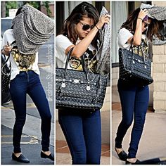 #selenagomez #fashion #style #look #outfit #justinbieber #drake #austinmahone #fling #exgirlfriend #taylorswift #lorde #feud #comeandgetit #royals #love #her #style #vanessahudgens #springbreakers #shorts #beach #bag #studded #black... - Celebrity Fashion