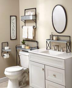 Small Bathroom Organization, Small Bathroom Decorating, Ideas To Decorate Bathroom, Shelves For Bathroom, Small Bathroom Remodeling, Bathroom Remodel Small, Creative Bathroom Storage Ideas, Coastal Bathroom Decor, Half Bathroom Decor