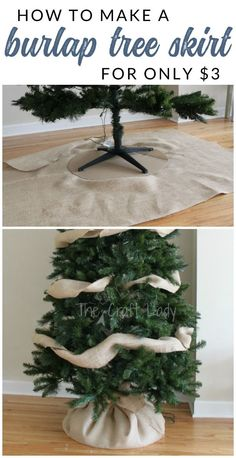 Easy-Peasy Christmas Tree Decorating - The Crazy Craft Lady - See how easy DIY Christmas Tree Decorating can be. Using a few simple supplies, you can decorate an - Easy-Peasy Christmas Tree Decorating - The Burlap Christmas Tree, Noel Christmas, Country Christmas, Xmas Tree, Christmas Crafts, Diy Christmas Tree Skirt, Christmas Tree Ideas, Christmas Island, Outdoor Christmas